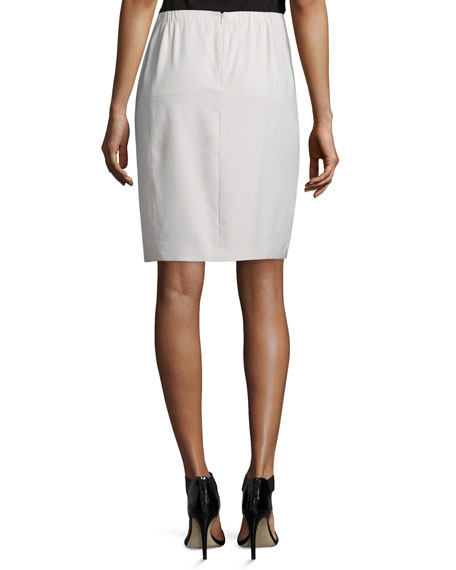 Mid-Rise Front-Slit Pencil Skirt, Dark Bone