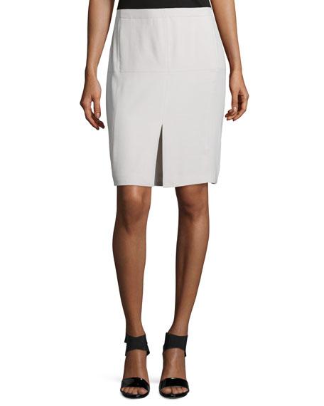 Halston Heritage Mid-Rise Front-Slit Pencil Skirt, Dark Bone