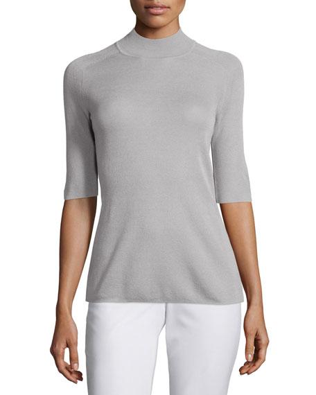 Halston Heritage Half-Sleeve Mock-Neck Sweater, Flint