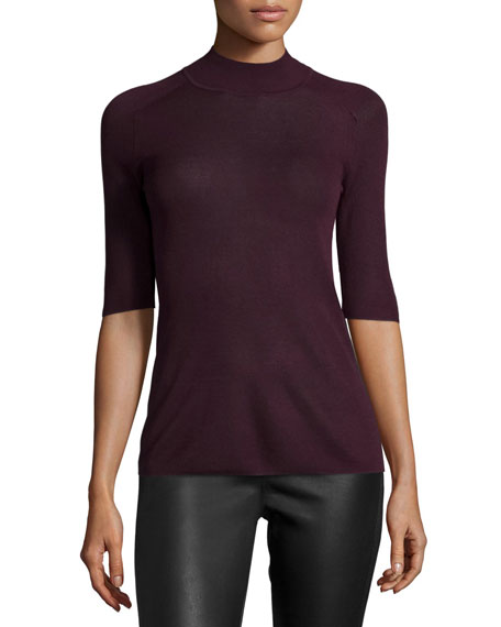 Halston Heritage Half-Sleeve Fitted Sweater, Port
