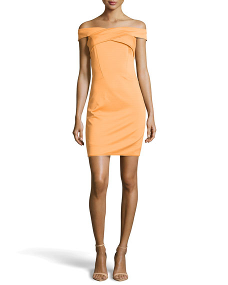 Halston Heritage Off-The-Shoulder Crisscross Ponte Dress, Apricot