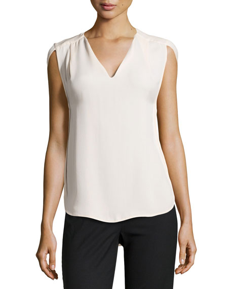 Halston Heritage Slit Cap-Sleeve Pleated Top, Shell