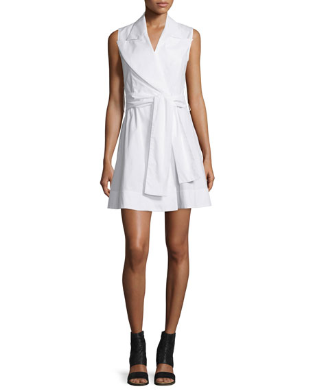 Maison Margiela Sleeveless Cotton Poplin Wrap Dress, White