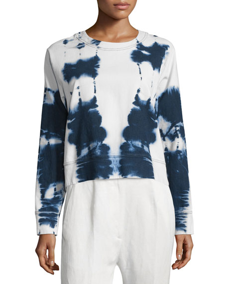 Beach Batik Cotton-Blend Sweatshirt, Blue