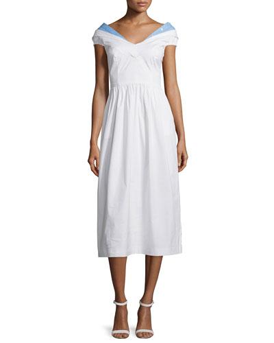 Louise Short-Sleeve Poplin Midi Dress