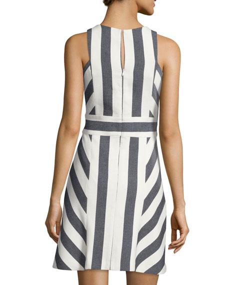 Graphic-Striped Sleeveless Dress, Navy