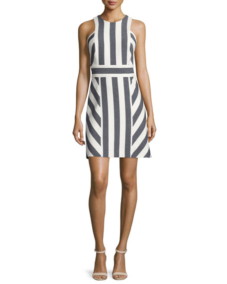 MillyGraphic-Striped Sleeveless Dress, Navy