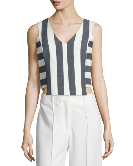 Milly Graphic Stripe V-Neck Shell, Navy
