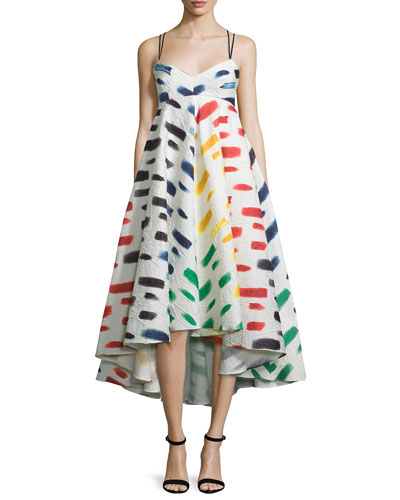 Couture Brushstroke-Print Trapeze Dress