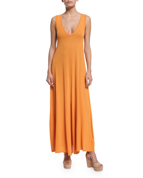 MM6 Maison Margiela Sleeveless V-Neck Jersey Jumpsuit, Sunset
