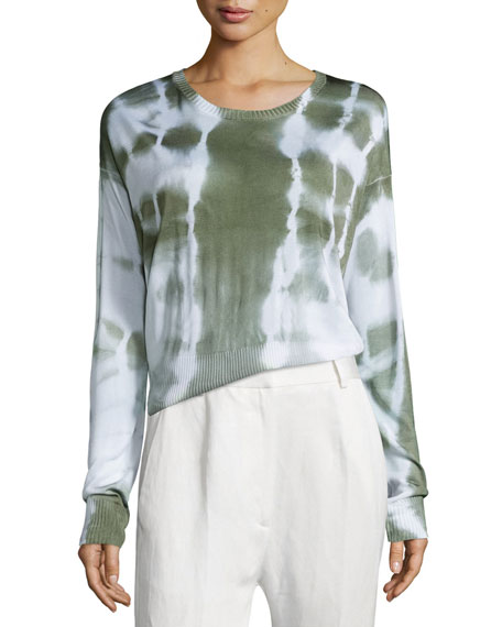 Maison Margiela Long-Sleeve Knit Batik Top, Off White/Green