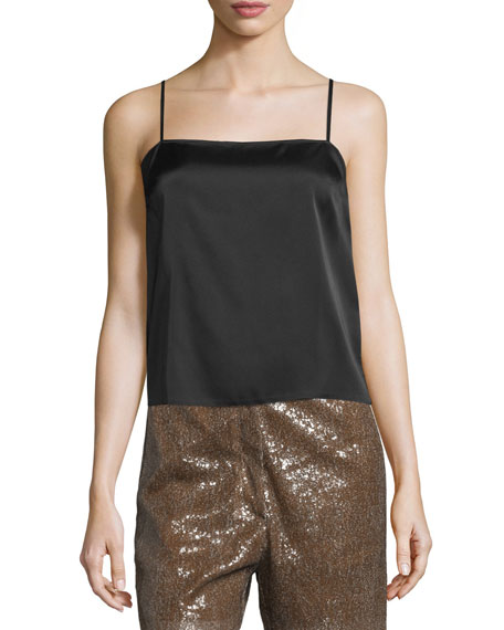Maison Margiela Chiffon Draped-Back Tank & Long Sequined