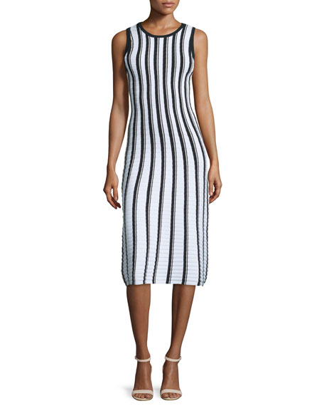 Milly Pop Texture-Striped Midi Dress, Multi Colors