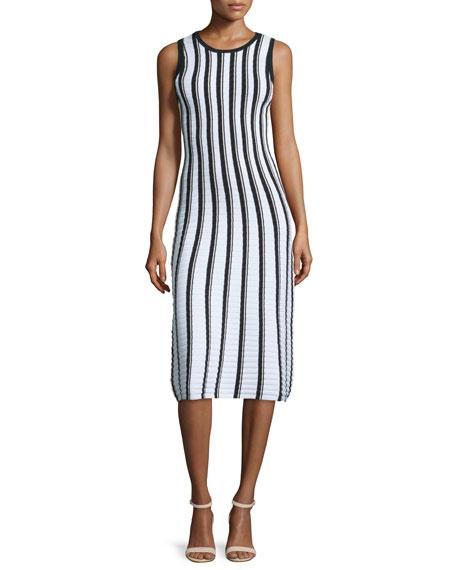 Milly Pop Texture-Striped Midi Dress, Multi Colors
