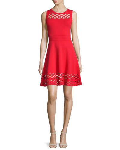 Chain Link Sleeveless Fit-&-Flare Dress, Red