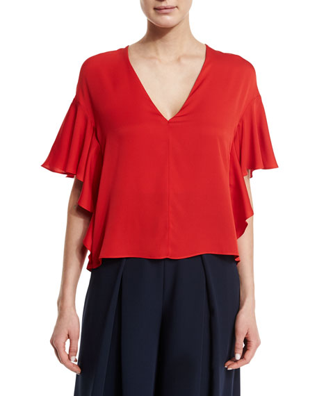 Milly Cascade-Sleeve Silk Blouse, Tomato