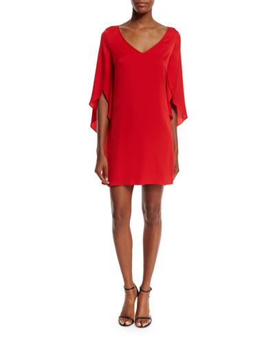 Silk V-Neck Butterfly Dress, Tomato