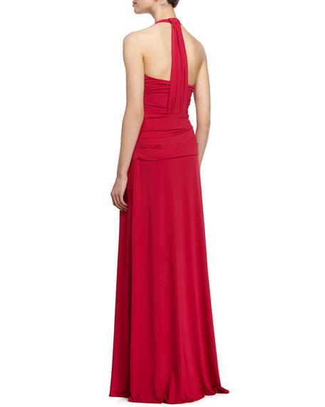 Deep V-Neck Twist-Front Halter Gown, Raspberry