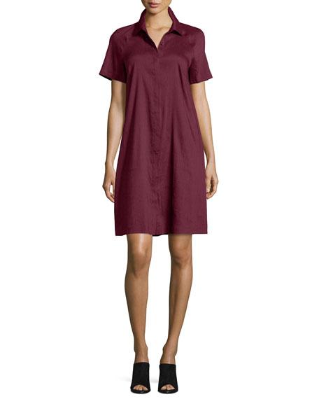 Lafayette 148 New York Shaylin Linen-Bend A-line Shirtdress,
