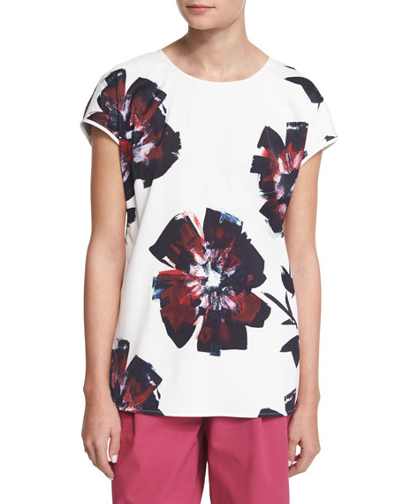 Lafayette 148 New York Nadette Short-Sleeve Floral-Print Top