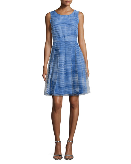 Halston Heritage Pleated A-Line Dress, Marine
