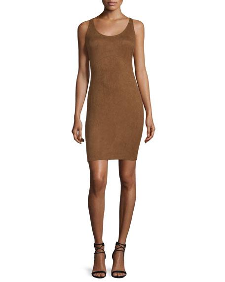Halston Heritage Sleeveless Round-Neck Sheath Dress, Rust