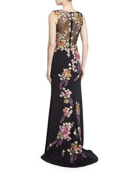 Sleeveless Floral-Appliqué Column Gown, Black/Multi