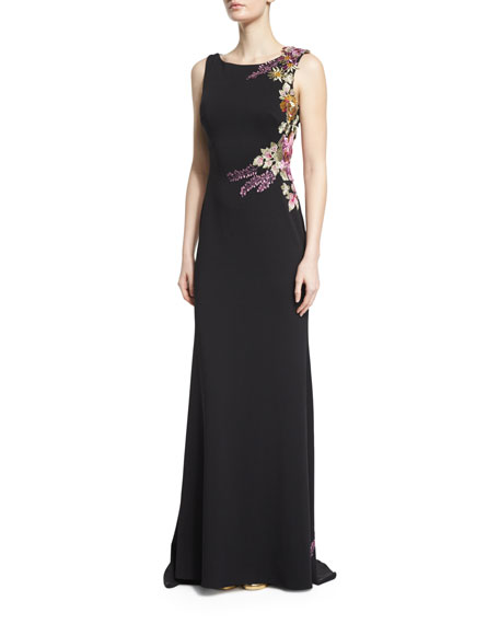 Jovani Sleeveless Floral-Appliqu?? Column Gown, Black/Multi