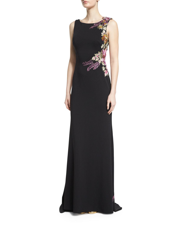Jovani Sleeveless Floral-Appliqué Column Gown, Black/Multi | Neiman ...