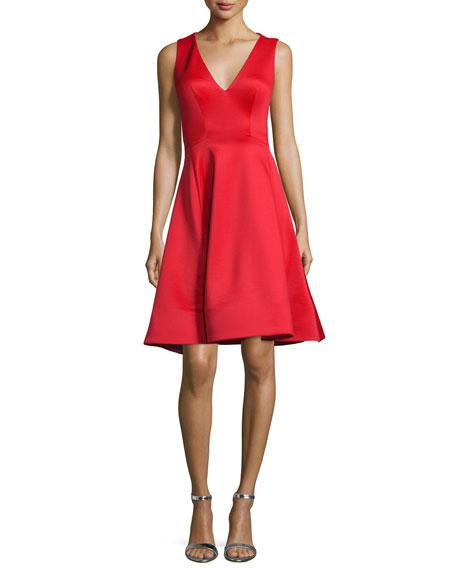 Jovani Sleeveless V-Neck Fit & Flare Midi Dress, Tomato