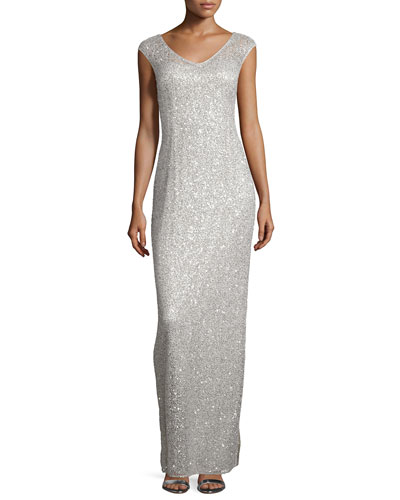 Sleeveless Sequined-Lace Column Gown