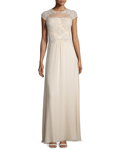 Cap-Sleeve Lace Combo Gown
