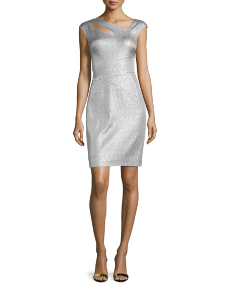Kay Unger New York Cap-Sleeve Metallic Cocktail Dress