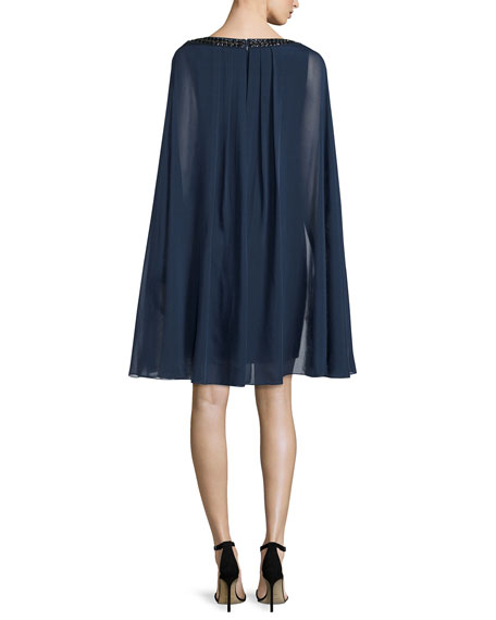 Sheath Cocktail Dress with Chiffon Cape