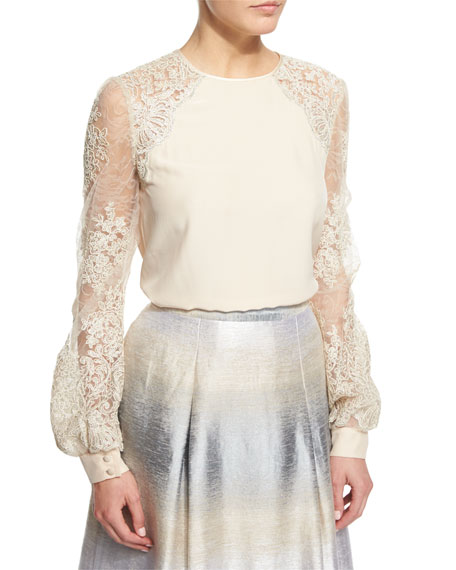 Kay Unger New YorkIllusion Lace Long-Sleeve Blouse