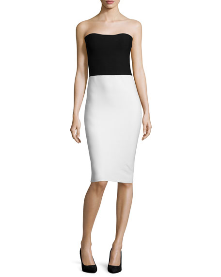 Halston Heritage Strapless Colorblock Sweater Dress, Black/White