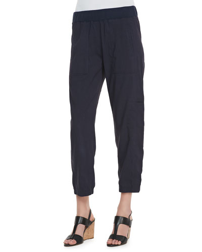 Cargo Linen-Blend Ankle Pants, Midnight, Plus Size