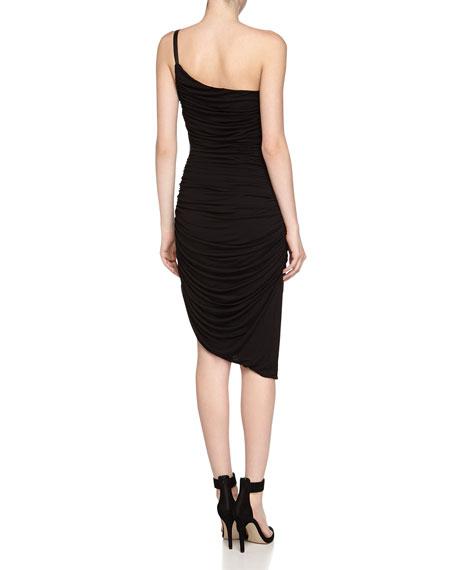 Ruched One-Shoulder Stretch Dress, Black