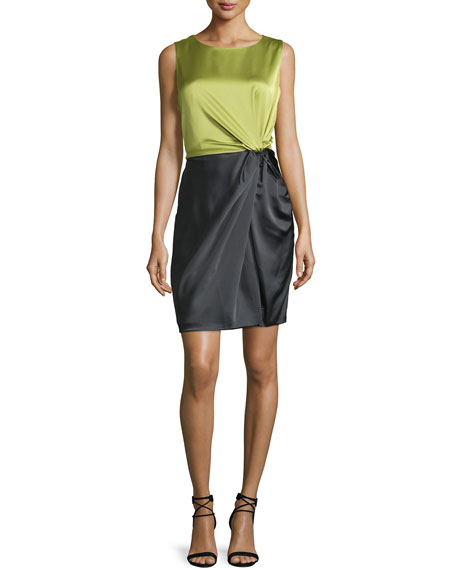 Halston Heritage Sleeveless Colorblock Twist-Front Dress, Apple Green/Charcoal