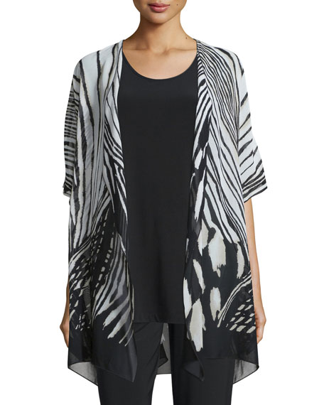 Caroline Rose Summer Safari Short-Sleeve Cardigan