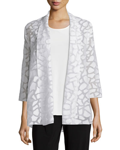 Animal Spot Mid-Length Cardigan, White