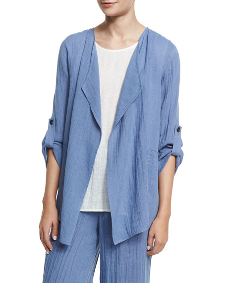Caroline Rose Crinkled Draped Linen Jacket, Blue Mist