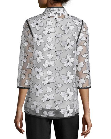 Magnolia Organza 3/4-Sleeve Jacket, Petite