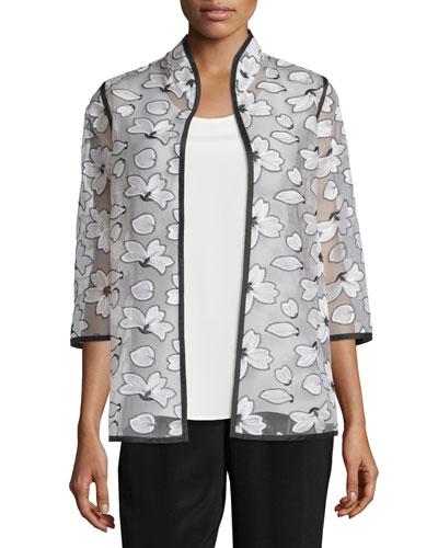 Magnolia Organza 3/4-Sleeve Jacket, Plus Size
