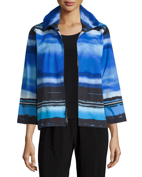 Caroline RoseMad About Blue Zip-Front Jacket, Petite