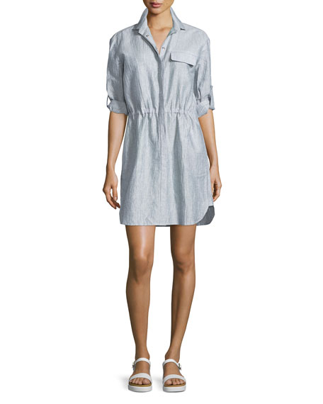 ATM Crinkled Snap-Front Shirtdress, Indigo/White