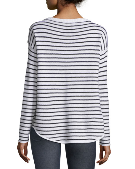 Striped Wool Sailor Sweater, Black/White