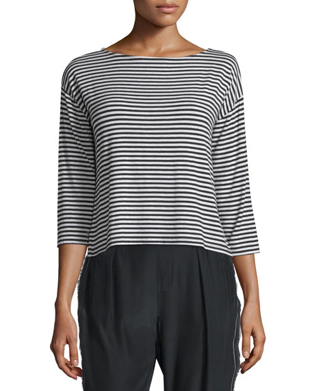 ATM 3/4-Sleeve Striped Boxy Top, Black/White
