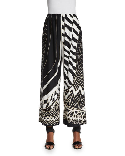Animal Instinct Wide-Leg Pants