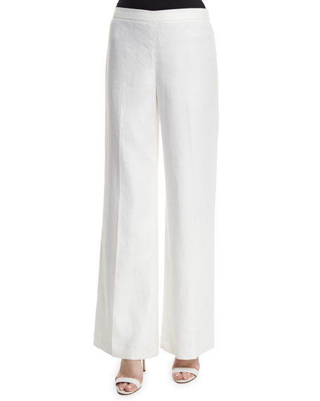Lafayette 148 New York Wide-Leg Linen Side-Zip Pants,